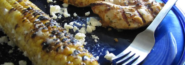 Green Spice Chicken Tenders with Mexican-Style Grilled Corn