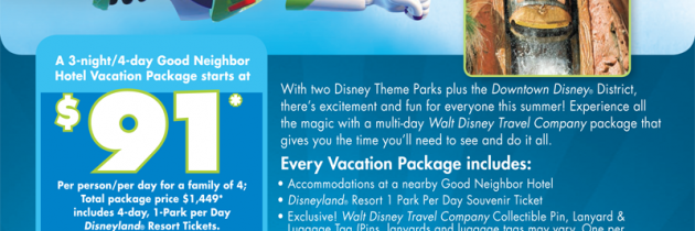 Summer fun at Disneyland for just $91 a day!